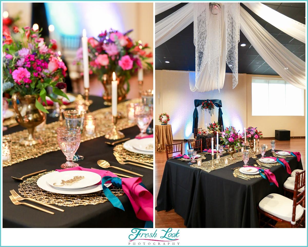 Jewel toned wedding reception decor