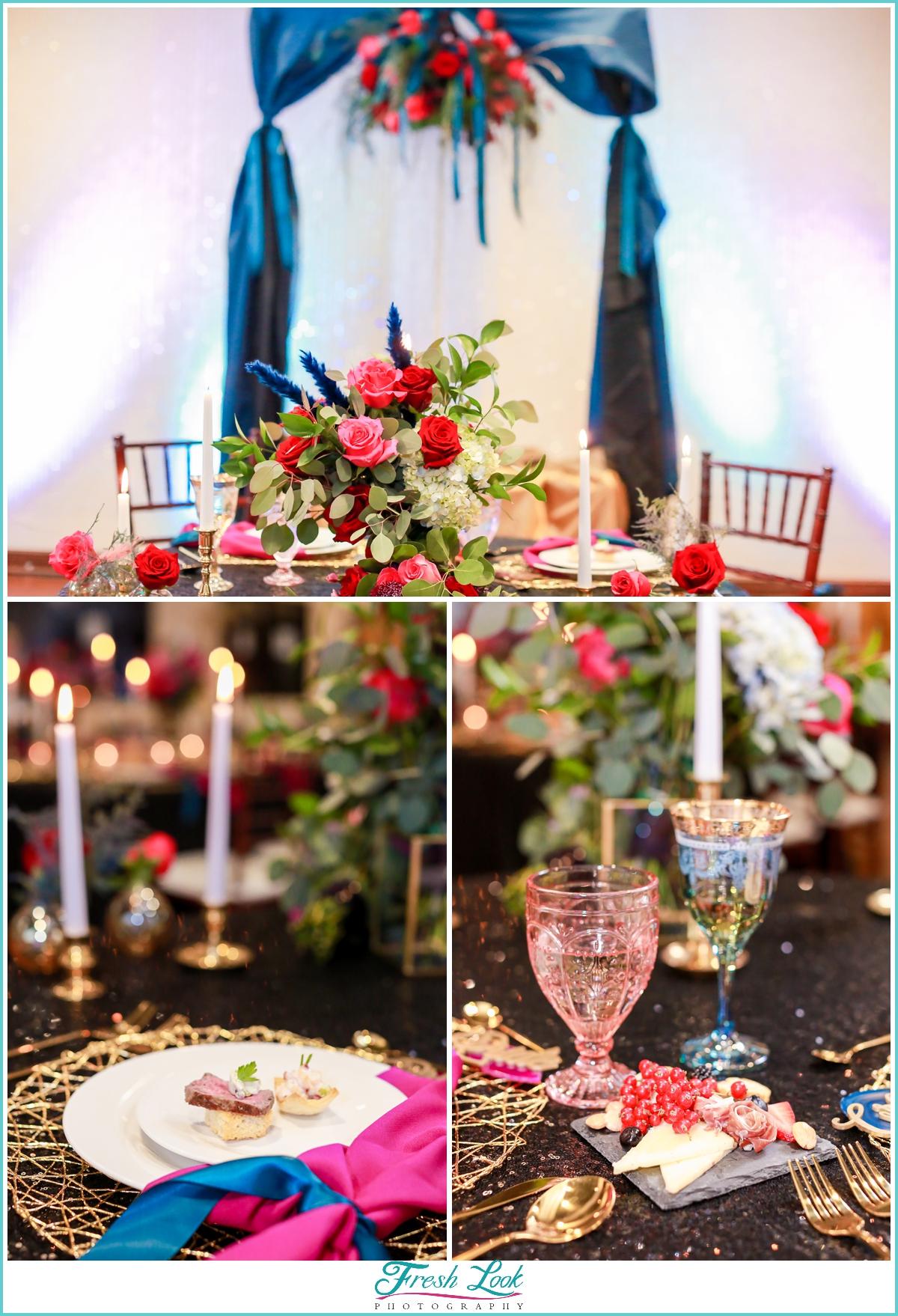 lush jewel toned reception decor