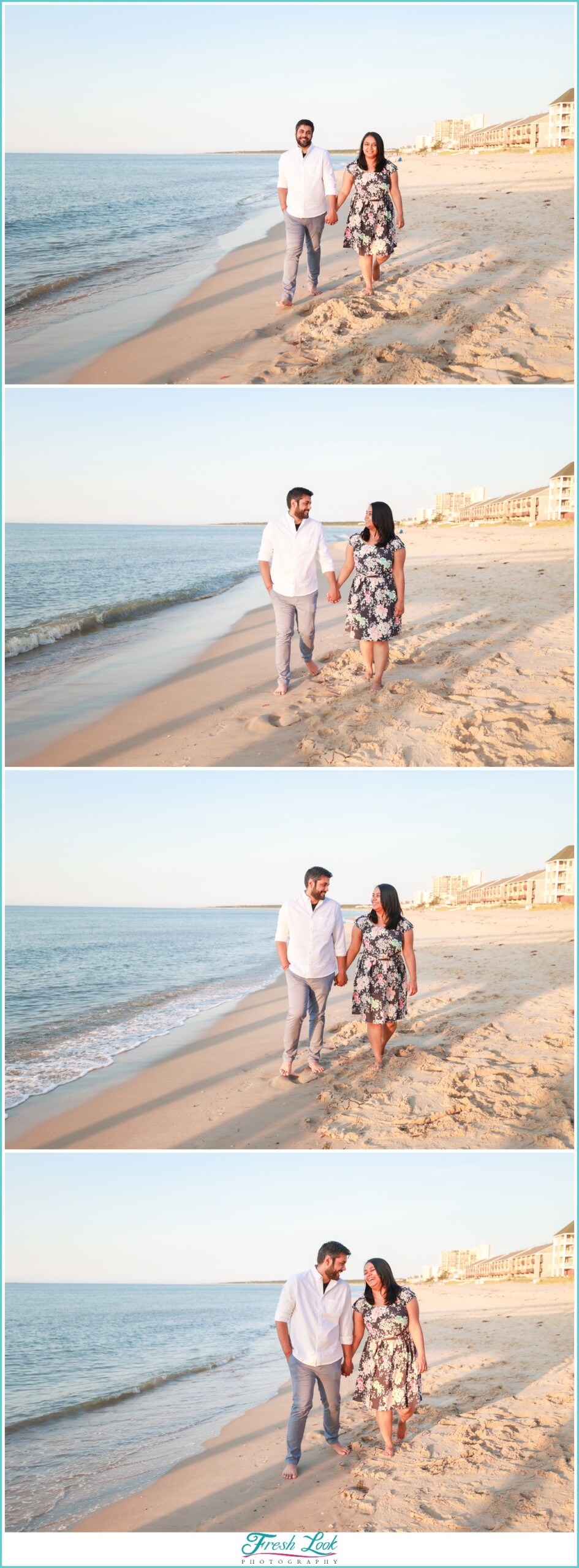 walking on the beach engagement session