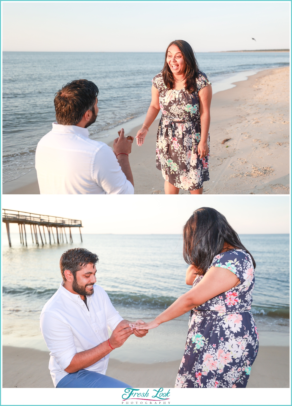 getting engaged on the beach