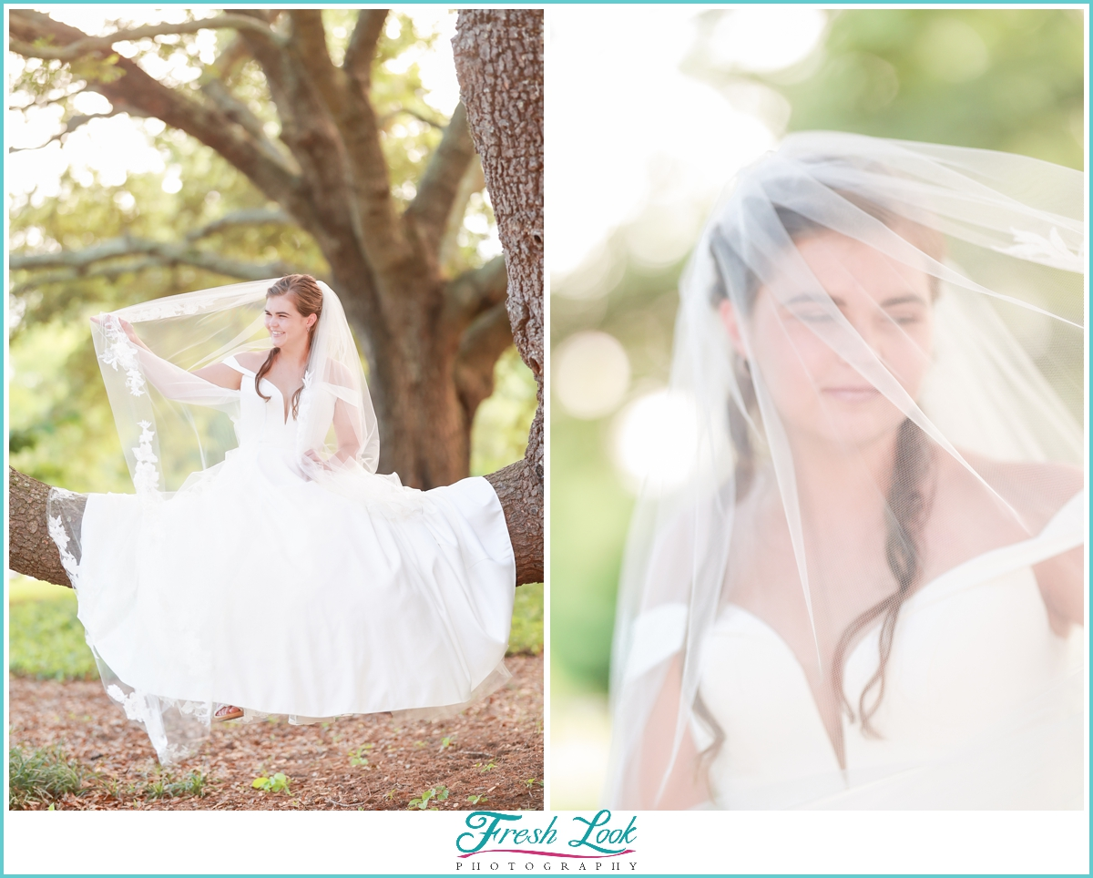 Bridal photoshoot in the trees