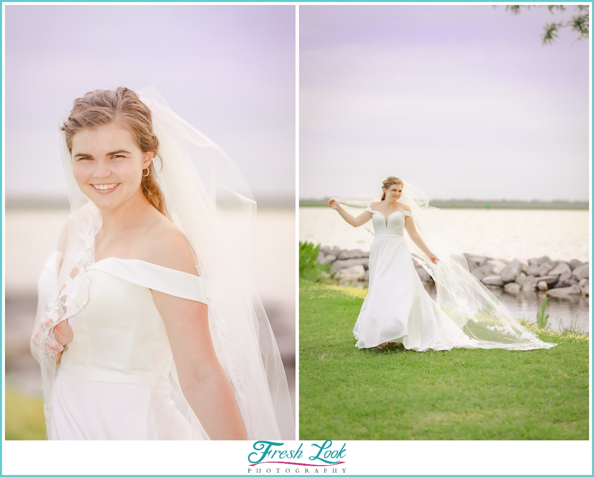 fun bridal portraits by the water
