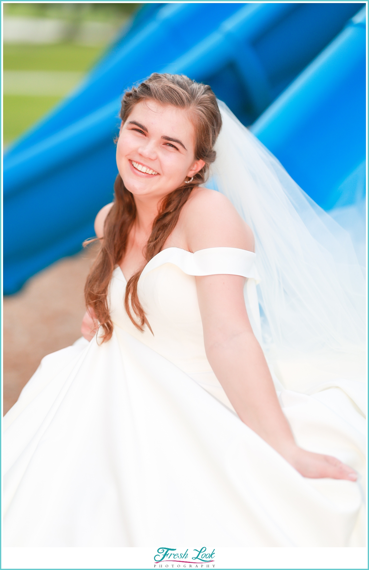 beautiful bride with something blue